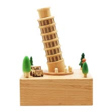- Yi Yin Yuan creative gift toys octave box beech wood pure hand music box square bottom Ferris wheel sky city on JD