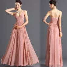 wedding-parties-Longuette  Deep V back hare sexy slim slim Chiffon Dress  Bridesmaid Dresses on JD