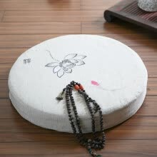 slipcovers-seat-cushion-Nobildonna Embroidery Lotus Linen Round 55*55*10cm Chinese Character Meditation Mat Tatami Futon Cushion Floor Cushions on JD
