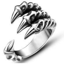-Free Shipping Punk Silver Men Women Ring Titanium Steel rings Eagle Claw Dragon Claws Resizable Personality Rocking ring for Gifts on JD