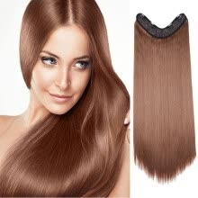 -26' Inch Long Straight Hair U Part One Piece Clip In Hair Extension Synthetic Heat Resistant Hairpiece on JD