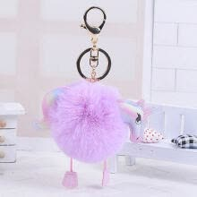 chokers-Keyring Soft Faux Fluffy Rabbit Fur HandBag Pendant Charm Pompom Keychain on JD