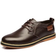 -Poitulas Men 's  low - level flat - bottomed shoes lace - hole shoes 5838 brown 42 on JD