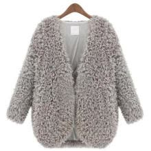 -Women Knitted Cardigan Loose Sweater Outwear Long Sleeve Fluffy Jacket Coat Tops on JD