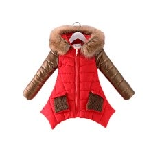 88be1336b655 4-13 years old girls winter coat children s down jacket hooded Fur collar  stitching kids Outerwear thick warm parkas fashion