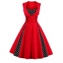 -Summer Casual Polka Dot Print Patchwork Midi Vintage Retro Party Dress on JD