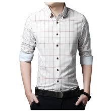 875061442-New 2016 Spring Casual Men Shirt Cotton Linen Mens Dress Shirt Slim Fit Plaid Shirt Long sleeve Plus Size Shirts on JD