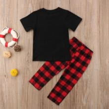 -2-8Y 2Pcs Summer Outfits Kids Baby Boy Girl Tops T-shirt+Plaids Leggings Clothes on JD