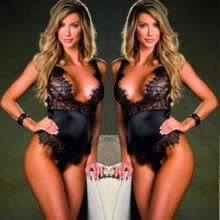 Womens Stretch Bodysuit Sleeveless Lingerie Lace Leotard Top Backless  Jumpsuit 704b95bef