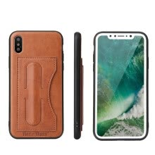 -New iphoneXS Mobile Phone Case Support Back Cover Samsung Note9 Leather Case Brown on JD