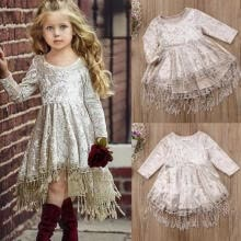 -AU Flower Girl Dress Velvet Tassel Princess Baby Party Pageant Gown Formal Dress on JD