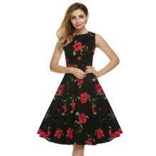 cacb6fc4eb2 Women Dress Retro Vintage 1950s 60s Rockabilly Floral Swing Summer Midi Womens  Dresses Elegant Bow-knot Tunic