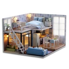 -DIY Miniature Loft Dollhouse Kit Lifelike Mini 3D Wooden House Room Handmade Toy with Furniture LED Lights Valentine's Day Christm on JD