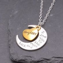 choker-necklaces-Best Gold/Silver Family I LOVE YOU TO THE MOON AND BACK Necklace Charm Pendant on JD