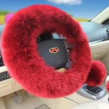 bridal-jewelry-sets-USA 3Pcs Soft Warm Sheepskin Long Wool Plush Fuzzy Steering Wheel Cover 12 Style on JD