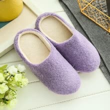 women-shoes-New Pure Color Soft Plain Slippers Wood Floor Non-slip Silent Mute Cotton Slippers Unisex Type on JD