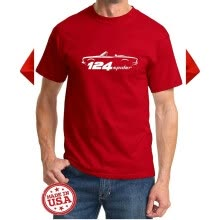 t-shirt-1966-82 Fiat 124 Spider Sports Car Classic Outline Design Tshirt on JD
