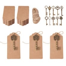 -PH PANDAHALL 1 Set Jewelry Display Paper Price Tags, with Hemp Yarn Set and Skeleton Key Big Pendants on JD
