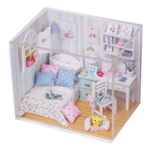 girls-accessories-DIY Wooden Dollhouse Miniature House w/ LED Light Furniture Kids Handicraft Gift on JD
