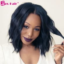 a4d0421de Short Bob Lace Front Wig Natural Hairline Human Hair Wigs Virgin Natural  Wave 130% Density Lace Wig For Black Women Zax Hair