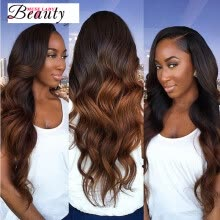 -10A Ombre Brazilian Hair Body Wave Weave 3 Bundles Two Tone Ombre 1B/30 Hair Extensions Virgin Hair Natural Bundle Deals on JD