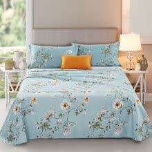 8750203-Yingxin textile cotton bedding high count high density cotton twill double bed 230 * 250 simple elements (blue) A version on JD