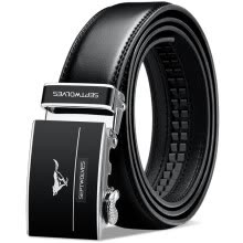 -Seven wolves belt men's automatic buckle leather men's belt business series men's belt pants with WA3994j black on JD