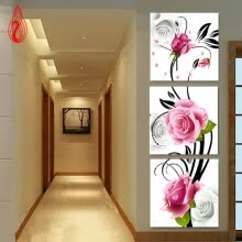 -YGS-139 DIY Full Diamonds Embroidery Triptych flowers roses vertical version Round Diamond Painting Cross Stitch Diamond Mosaic on JD