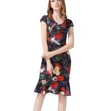 4d0dc65166 B N Women s Cap Sleeve Mermaid Pencil Midi Dress V-neck Floral Bodycon Dress