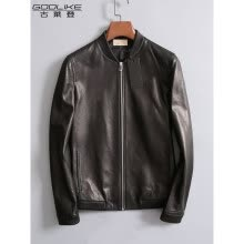 -Men's leather jacket long sleeve autumn witer clothing genuine sheepskin motocycle coat real leather the newest simple style on JD