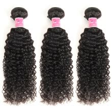 -Brazilian Kinky Curly Virgin Hair Weave 3 Bundles Unprocessed Human Hair Extensions Natural Black Color #1B Can Be Dyed on JD