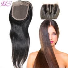 closures-frontals-QDKZJ Free Shipping Brazilian Virgin 100% Human Hair Closures Straight Lace Closure Top 4*4 Middle 3 Way Part Bleached Knots on JD