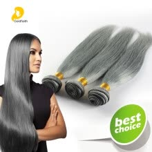 pre-colored-hair-weaves-Trendy Gray Hair Silky Straight Weave Bundles 3pcs Brazilian Human Virgin Hair 300g Grade 7A Top Quality Hair Weft Extension on JD