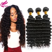-Affordable 8A Unprocessed Brazilian Deep Wave Virgin Hair 3 Bundles Weave 100g/Pcs Virgin Brazilian Deep Curly Human Hair on JD