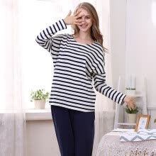 -[Jingdong supermarket] red beans home pajamas female spring cotton long-sleeved fashion stripes home clothing set Tibetan Green 165 / 88A on JD