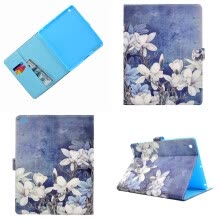 -White flowers Style Classic Flip Cover with Stand Function and Credit Card Slot for Apple iPad 2 3 4 on JD