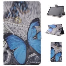 -Blue Butterfly Style Classic Flip Cover with Stand Function and Credit Card Slot for Samsung Galaxy Tab 4 T330 on JD