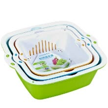-Camellia double wash basket basket water basket drain basket fruit and vegetable sinks Amoy vegetable sieve medium and small 3-piece set on JD