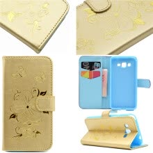 Gold Hot Stamping Foil Gold Design PU Leather Flip Cover Wallet Card Holder Case for Samsung GALAXY Grand Prime G530
