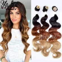 one-pack-hair-2017 Hot Sale (4Pcs/Lot) Ombre Synthetic Blonde Body Wave Hair Weave 3 Bundles With Closure 18'-22' 240g Long Hair Extensions on JD