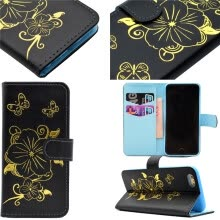 -Black Hot Stamping Foil Gold Design PU Leather Flip Cover Wallet Card Holder Case for Apple iPhone 6 on JD
