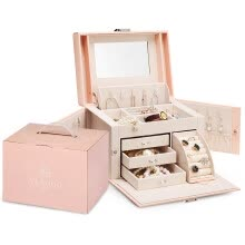 -Chandelo (VLANDO) Jewelry Box Gift Boxed Wooden Continental Style Makeup Mirror Jewelry Accessories Storage Box Birthday Gift Sakura Powder on JD