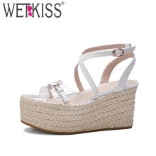40cd6b5fb36 WETKISS 2017 Genuine Leather Gladiator Sandals Women Narrow Band Buckle  Strap Summer Shoes High Straw Weave Wedges Platform Shoe
