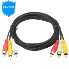 -IT-CEO V083R AV audio and video cable three pairs of three lotus head line 3RCA to 3RCA male to public AV adapter line red and white TV set-top box line 2 meters black on JD