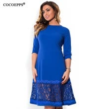 -COCOEPPS L-6XL elegant blue women dress big sizes Autumn o-neck loose dresses plus size Knee-Length dress black red casual dress on JD