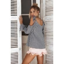 875061821-Autumn new casual black and white checked with a long sleeved bow blouse on JD