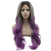 -Iwona Synthetic Hair Lace Front Long Wavy Grey Purple Ombre Wig on JD