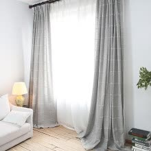 8750202-FOOJO Curtains Embroidered Plaid Living Room Floor Coverings Curtains Finished 3m Width * 2.7m Height on JD