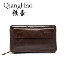 -QiangHao 2017 Men Wallet Genuine Leather Purse Fashion Casual Long Business Male Clutch Wallets Men's handbags Men's clutch bag on JD