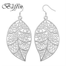 6f266f98a BAFFIN Fashion Maxi Leaf Dangle Earrings Statement Jewelry Silver Plated  Drop Earrings For Women Party